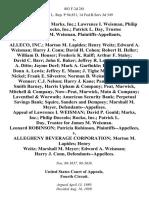 David P. Gould Marks, Inc. Lawrence I. Weisman, Philip Doccolo Rocko, Inc. Patrick L. Day, Trustee for James M. Weisman v. Alleco, Inc. Morton M. Lapides Henry Weitz Edward A. Weisman Harry J. Conn David H. Cohen Robert H. Heller William D. Houser Frederic K. Raiff Arthur F. Staley David C. Barr John E. Baker Jeffrey R. Lapides Heather A. Ditto Jayme Dorf Mark A. Garfinkle David S. Klein Donn A. Lewis Jeffrey E. Mann J. Tighe Merkert Joan L. Nickel Frank E. Silvestro Norman B. Weisman Deborah A. Wenner C.J. Nelson Harry J. Kane Pamela Lapides Smith Barney, Harris Upham & Company Peat, Marwick, Mitchell & Company, Now--Peat, Marwick, Main & Company Laventhol & Worwath American Security Bank Perpetual Savings Bank Squire, Sanders and Dempsey Marshall M. Meyer, Appeal of Lawrence I. Weisman David P. Gould Marks, Inc. Philip Doccolo Rocko, Inc. Patrick L. Day, Trustee for James M. Weisman. Leonard Robinson Patricia Robinson v. Allegheny Beverage Corporation Morton M. Lapides Henry Weitz Ma