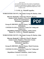 Honiss W. Cane, Jr. v. Worcester County, Maryland George M. Hurley John E. Bloxom Reginald T. Hancock Floyd F. Bassett Jeanne Lynch, Members, Worcester County Board of Commissioners, and George H. Dryden Hinson Finney Mark Frostrom, United States of America Center for Voting and Democracy Republican National Committee, Amici Curiae. Honiss W. Cane, Jr. v. Worcester County, Maryland George M. Hurley John E. Bloxom Reginald T. Hancock, Floyd F. Bassett Jeanne Lynch, Members, Worcester County Board of Commissioners, and George H. Dryden Hinson Finney Mark Frostrom, United States of America Center for Voting and Democracy Republican National Committee, Amici Curiae, 59 F.3d 165, 4th Cir. (1995)