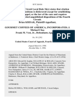 Brian Krisak v. Gourmet Coffees of America, Incorporated J. Michael Chu Frank M. Vest, Jr., 85 F.3d 616, 4th Cir. (1996)