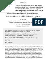 United States v. Mohammed Naeem Zakaria, 110 F.3d 62, 4th Cir. (1997)