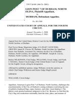 American Legion Post 7 of Durham, North Carolina v. City of Durham, 239 F.3d 601, 4th Cir. (2001)
