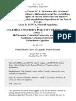 Alyza D. Lewin v. Columbia University in the City of New York, James T. McMenamin Columbia University and Mark L. Goldstein, Columbia University, 822 F.2d 55, 4th Cir. (1987)