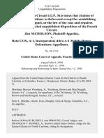 Jim Nicholson v. Reta Cox, A-1, Incorporated, D/B/A A-1 Mobile Homes, 914 F.2d 248, 4th Cir. (1990)