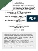 Windsor-Mount Joy Mutual Insurance Company v. Mutual Assurance Society of Virginia, and Charles Cabell Briggs Jeffrey B. Walden, 915 F.2d 1566, 4th Cir. (1990)