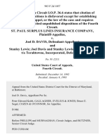 St. Paul Surplus Lines Insurance Company v. Joel D. Davis, and Stanley Lewis Joel Davis and Stanley Lewis, a Partnership, T/a Torahtowne, Incorporated, 983 F.2d 1057, 4th Cir. (1993)