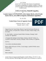 United States v. Lonnie James Livingston, A/K/A James Davis, A/K/A Frank James Davis, A/K/A Bill Livingston, 21 F.3d 426, 4th Cir. (1994)