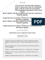 Blue Cross and Blue Shield of South Carolina v. Goer Manufacturing Company, Incorporated, Blue Cross and Blue Shield of South Carolina v. Goer Manufacturing Company, Incorporated, 30 F.3d 128, 4th Cir. (1994)