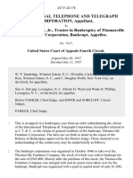 International Telephone and Telegraph Corporation v. Frank P. Holton, Jr., Trustee in Bankruptcy of Thomasville Furniture Corporation, Bankrupt, 247 F.2d 178, 4th Cir. (1957)