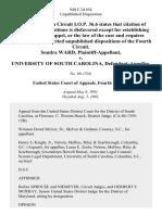 Sondra Ward v. University of South Carolina, 940 F.2d 654, 4th Cir. (1991)