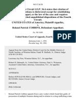 United States v. Roland Patrick Cobbins, 943 F.2d 50, 4th Cir. (1991)