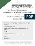 Levi Burgess v. Commonwealth of Virginia, 944 F.2d 900, 4th Cir. (1991)