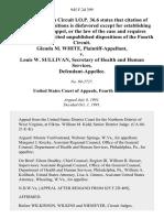 Glenda M. White v. Louis W. Sullivan, Secretary of Health and Human Services, 945 F.2d 399, 4th Cir. (1991)