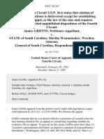 James Griffin v. State of South Carolina Martha Wannamaker, Warden Attorney General of South Carolina, 958 F.2d 367, 4th Cir. (1992)