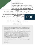 Urvashi B. Patel, an Individual v. Scotland Memorial Hospital, a North Carolina Corporation W. Harley Davidson Gregory C. Wood, 91 F.3d 132, 4th Cir. (1996)