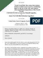 United States v. James Ned Grubb, 65 F.3d 167, 4th Cir. (1995)