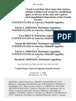 United States v. Edwin J. Johnson, United States of America v. Gary Bruce, United States of America v. Joseph Blosenski, United States of America v. Edwin J. Johnson, United States of America v. Harold H. Johnson, 89 F.3d 830, 4th Cir. (1996)