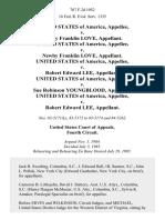 United States v. Newby Franklin Love, United States of America v. Newby Franklin Love, United States of America v. Robert Edward Lee, United States of America v. Sue Robinson Youngblood, United States of America v. Robert Edward Lee, 767 F.2d 1052, 4th Cir. (1985)