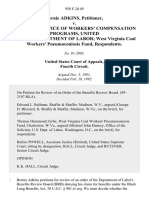 Bernie Adkins v. Director, Office of Workers' Compensation Programs, United States Department of Labor West Virginia Coal Workers' Pneumoconiosis Fund, 958 F.2d 49, 4th Cir. (1992)