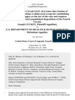 Joseph Luckey v. U.S. Department of Health & Human Services, 878 F.2d 1430, 4th Cir. (1989)