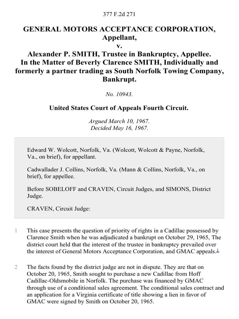 General Motors Acceptance Corporation V Alexander P Smith Trustee