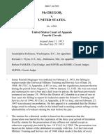 McGregor v. United States, 206 F.2d 583, 4th Cir. (1953)