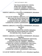 Bellsouth Telecommunications, Incorporated, United States of America Federal Communications Commission, Intervenors v. North Carolina Utilities Commission, and Us Lecof North Carolina, Llc, Bellsouth Telecommunications, Incorporated, United States of America Federal Communications Commission, Intervenors v. North Carolina Utilities Commission, and Intermedia Communications, Bellsouth Telecommunications, Incorporated v. North Carolina Utilities Commission, McImetro Access Transmission Services, Incorporated, United States of America Federal Communications Commission, Intervenors. Bellsouth Telecommunications, Incorporated, United States of America Federal Communications Commission, Intervenors v. Us Lecof North Carolina, Llc, and North Carolina Utilities Commission, 240 F.3d 270, 4th Cir. (2001)