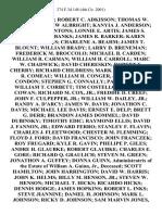 Daniel Adams Robert C. Adkisson Thomas W. Adler Matthew Albright Kanyia J. Anderson Bradley D. Antons Lonnie E. Artis James S. Bailie John Banks James R. Barker Karen Marie Barnes Charlene A. Beahm James T. Blount William Brady Larry D. Breneman Frederick M. Broccolo Michael B. Carden William R. Carman William H. Carroll Marc W. Chadwick David Chereskin Robert E. Cherry Richard Childress Mark Cole Steven R. Comeau William H. Conger, Jr. Scott Condon Stephen G. Connally Paul G. Cook William T. Corbett Tim Costello Robert L. Cowan Richard M. Cox, Jr. Freddie D. Creef John F. Culpepper, Jr. William W. Dailey, Jr. Randy A. D'Arcy James W. Davis Jonathon C. Davis Michael Lee Davis Ernest E. Delp Brett G. Derr Brandon James Dommel David Dubinsky Timothy Edic Raymond Ellis David J. Fannon, Jr. Edward Ferro Stanley F. Flavin Charles J. Fleetwood Chester M. Flemming Floyd J. Ford David Francisco John Franczek Roy Frugard Kyle R. Gavin Phelipe P. Giles Andre H. Glaubke Robert Glaubke Charles E.