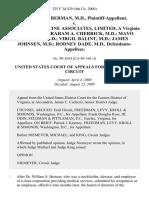 William S. Berman, M.D. v. Physical Medicine Associates, Limited, a Virginia Corporation Abraham A. Cherrick, M.D. Mayo Friedlis, M.D. Virgil Balint, M.D. James Johnsen, M.D. Rodney Dade, M.D., 225 F.3d 429, 4th Cir. (2000)