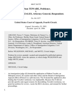 Birhan Tewabe v. Alberto R. Gonzales, Attorney General, 446 F.3d 533, 4th Cir. (2006)