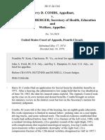 Harry D. Combs v. Caspar W. Weinberger, Secretary of Health, Education and Welfare, 501 F.2d 1361, 4th Cir. (1974)