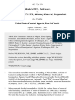 Alexis Mbea v. Alberto R. Gonzales, Attorney General, 482 F.3d 276, 4th Cir. (2007)