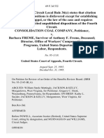 Consolidation Coal Company v. Barbara Freme, Survivor of Anthony F. Freme, Deceased Director, Office of Workers' Compensation Programs, United States Department of Labor, 69 F.3d 532, 4th Cir. (1995)