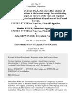 United States v. Harlan Rider, United States of America v. John Niswander, 829 F.2d 37, 4th Cir. (1987)
