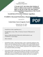 Gerald Davis Fuller v. Warden, Maryland Penitentiary, 861 F.2d 263, 4th Cir. (1988)