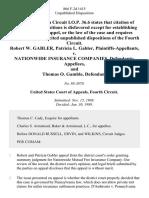 Robert W. Gabler, Patricia L. Gabler v. Nationwide Insurance Companies, and Thomas O. Gamble, 866 F.2d 1415, 4th Cir. (1989)