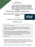 "United States v. Bernard Douglas Holland, A/K/A ""Bernie"", 866 F.2d 1416, 4th Cir. (1989)"