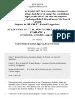 Stephen W. Bennett v. State Farm Mutual Automobile Insurance Company, a Corporation, 887 F.2d 1078, 4th Cir. (1989)