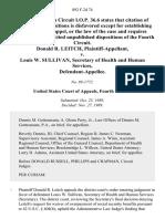 Donald R. Leitch v. Louis W. Sullivan, Secretary of Health and Human Services, 892 F.2d 74, 4th Cir. (1989)
