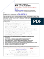 Aministrative Assistant-Travel Coordinator Position Advertisment March 2016