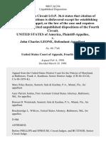 United States v. John Charles Leone, 900 F.2d 256, 4th Cir. (1990)