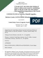 United States v. Barbara Louise Alexander, 900 F.2d 256, 4th Cir. (1990)
