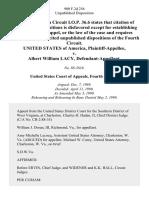 United States v. Albert William Lacy, 900 F.2d 256, 4th Cir. (1990)