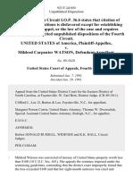 United States v. Mildred Carpenter Watson, 923 F.2d 850, 4th Cir. (1991)
