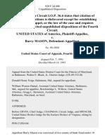 United States v. Barry Mason, 928 F.2d 400, 4th Cir. (1991)