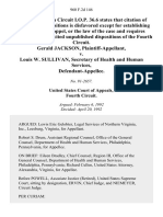 Gerald Jackson v. Louis W. Sullivan, Secretary of Health and Human Services, 960 F.2d 146, 4th Cir. (1992)