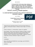 Marlene E. Sigman v. U.S. Department of Health & Human Services, 961 F.2d 211, 4th Cir. (1992)