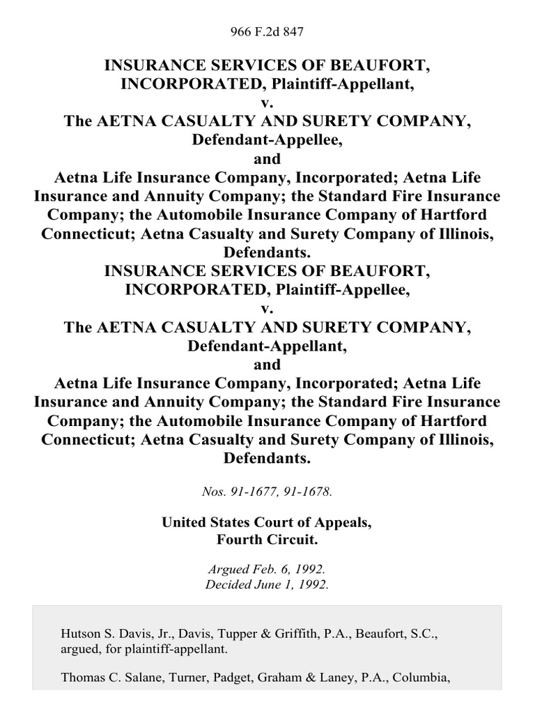 Insurance Services of Beaufort, Incorporated v. The Aetna ...
