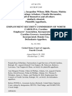 Almeda Farmer Jacqueline Wilson Billy Pizano Maleka Hortelano Santiago Arbalaez Claudia Hernandez, on Behalf of Themselves and All Others Similarly Situated v. Employment Security Commission of North Carolina Carolina Employers' Association, Incorporated North Carolina Growers Association, Incorporated Dennis Coe, 4 F.3d 1274, 4th Cir. (1993)