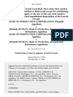 Maid to Perfection Corporation v. Michelle Hyman Maid to Perfection, Incorporated, Maid to Perfection Corporation v. Michelle Hyman Maid to Perfection, Incorporated, 85 F.3d 616, 4th Cir. (1996)