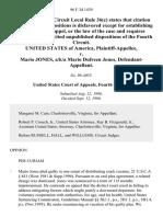 United States v. Mario Jones, A/K/A Mario Dufreen Jones, 96 F.3d 1439, 4th Cir. (1996)
